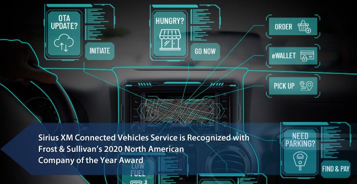 SiriusXM Connected Vehicle named 2020 Company of the Year in the Telematics Industry by Frost & Sullivan for its Connected Vehicle Platform and Groundbreaking New Safety Solution, ACN+